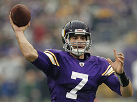 Minnesota Vikings quarterback Christian Ponder throws a touchdown pass during the first half of an NFL football game against the Green Bay Packers Sunday, Oct. 23, 2011, in Minneapolis. (AP Photo/Andy King)