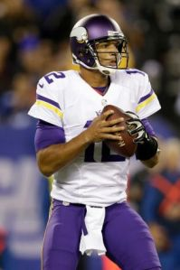 Minnesota Vikings quarterback Josh Freeman (12) looks to pass during the first half of an NFL football game against the New York Giants Monday, Oct. 21, 2013 in East Rutherford, N.J. Photo: Julio Cortez, AP
