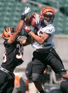 Cincinnati Bengals wide receiver Marvin Jones, right, catches a pass in front of defensive back Shaun Prater (38) during NFL football rookie minicamp at Paul Brown Stadium, Friday, May, 11, 2012, in Cincinnati. (AP Photo/Tony Tribble)
