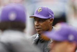Minnesota Vikings head coach Leslie Frazier is seen on the sidelines during the first half of an NFL football game against the Chicago Bears, Sunday, Sept. 15, 2013, in Chicago. (AP